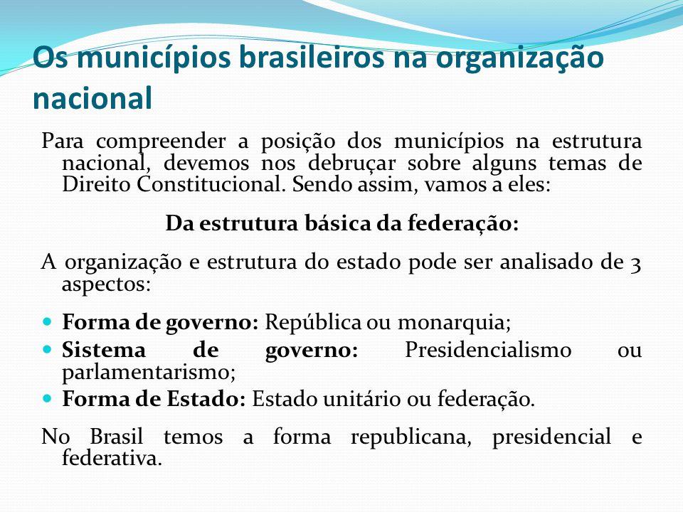 Os municípios brasileiros na organização nacional Para compreender a posição dos municípios na estrutura nacional, devemos nos debruçar sobre alguns t