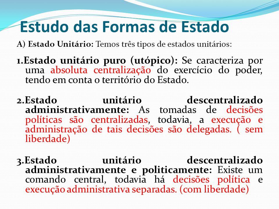 Estudo das Formas de Estado A) Estado Unitário: Temos três tipos de estados unitários: 1.Estado unitário puro (utópico): Se caracteriza por uma absoluta centralização do exercício do poder, tendo em conta o território do Estado.