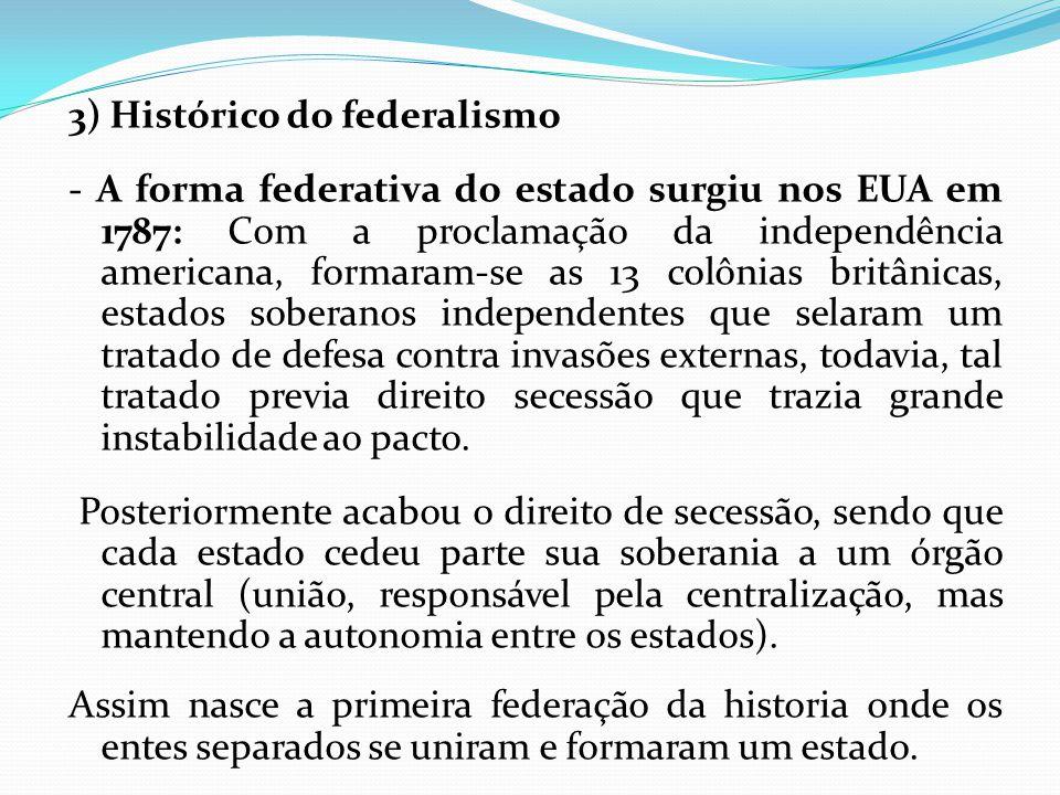 3) Histórico do federalismo - A forma federativa do estado surgiu nos EUA em 1787: Com a proclamação da independência americana, formaram-se as 13 col