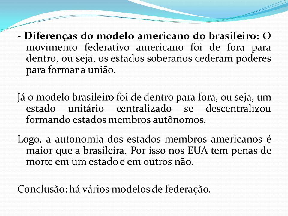 - Diferenças do modelo americano do brasileiro: O movimento federativo americano foi de fora para dentro, ou seja, os estados soberanos cederam poderes para formar a união.
