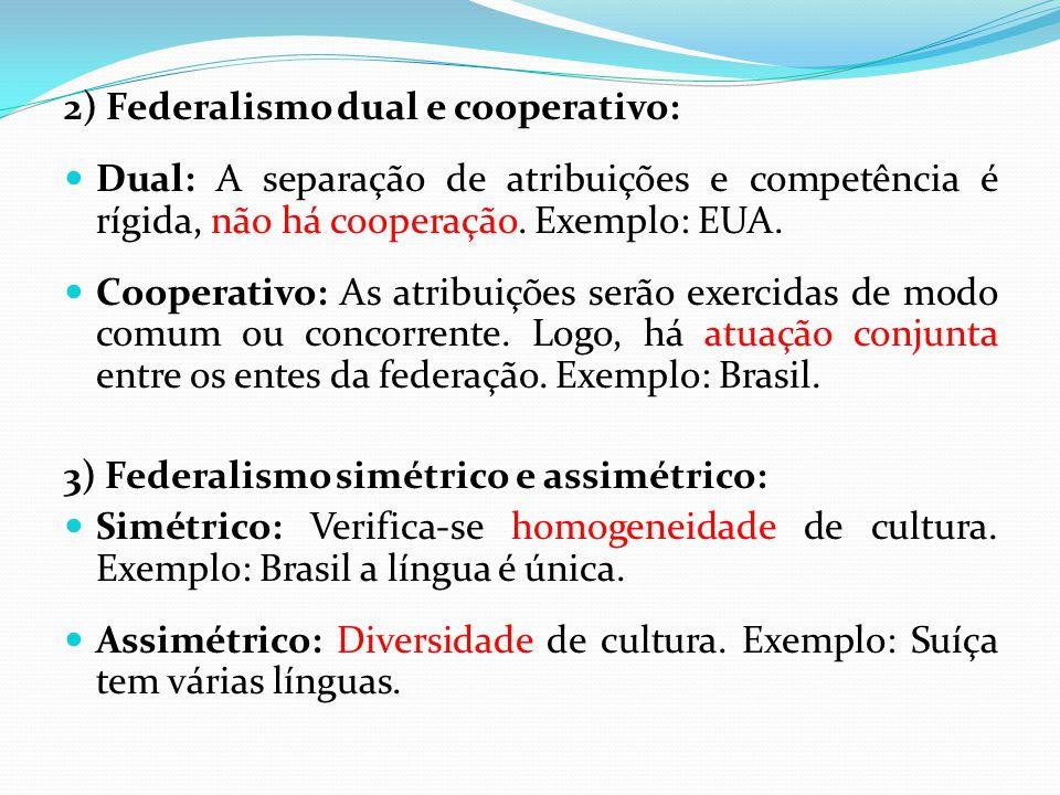 2) Federalismo dual e cooperativo:  Dual: A separação de atribuições e competência é rígida, não há cooperação. Exemplo: EUA.  Cooperativo: As atrib