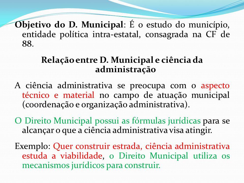 Objetivo do D. Municipal: É o estudo do município, entidade política intra-estatal, consagrada na CF de 88. Relação entre D. Municipal e ciência da ad