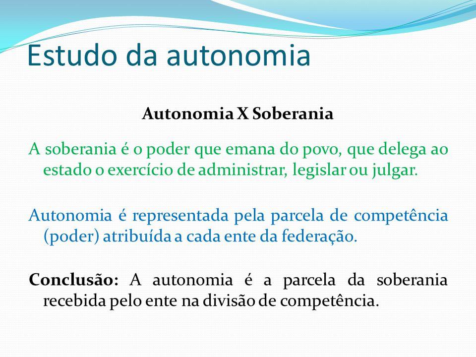 Estudo da autonomia Autonomia X Soberania A soberania é o poder que emana do povo, que delega ao estado o exercício de administrar, legislar ou julgar