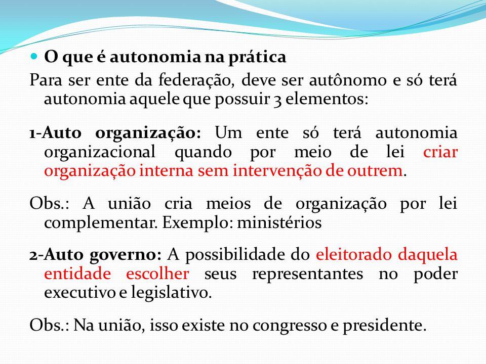  O que é autonomia na prática Para ser ente da federação, deve ser autônomo e só terá autonomia aquele que possuir 3 elementos: 1-Auto organização: U