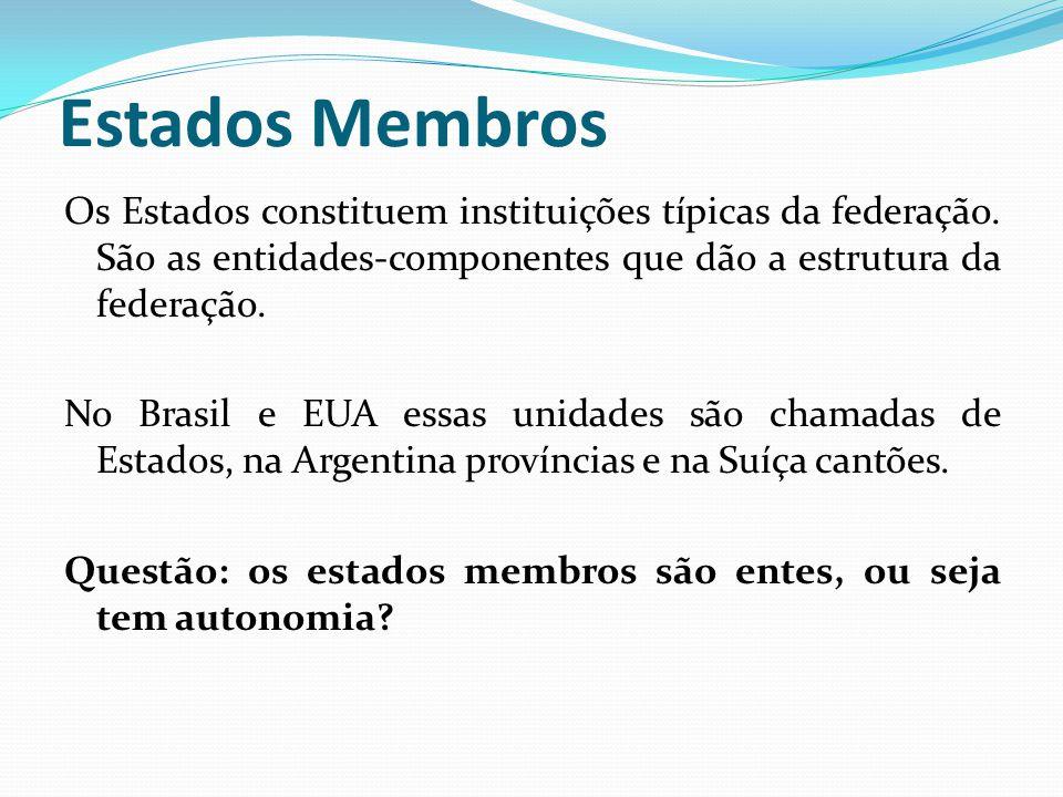 Estados Membros Os Estados constituem instituições típicas da federação. São as entidades-componentes que dão a estrutura da federação. No Brasil e EU