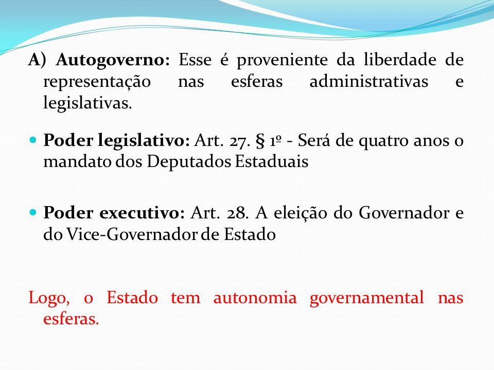 A) Autogoverno: Esse é proveniente da liberdade de representação nas esferas administrativas e legislativas.  Poder legislativo: Art. 27. § 1º - Será