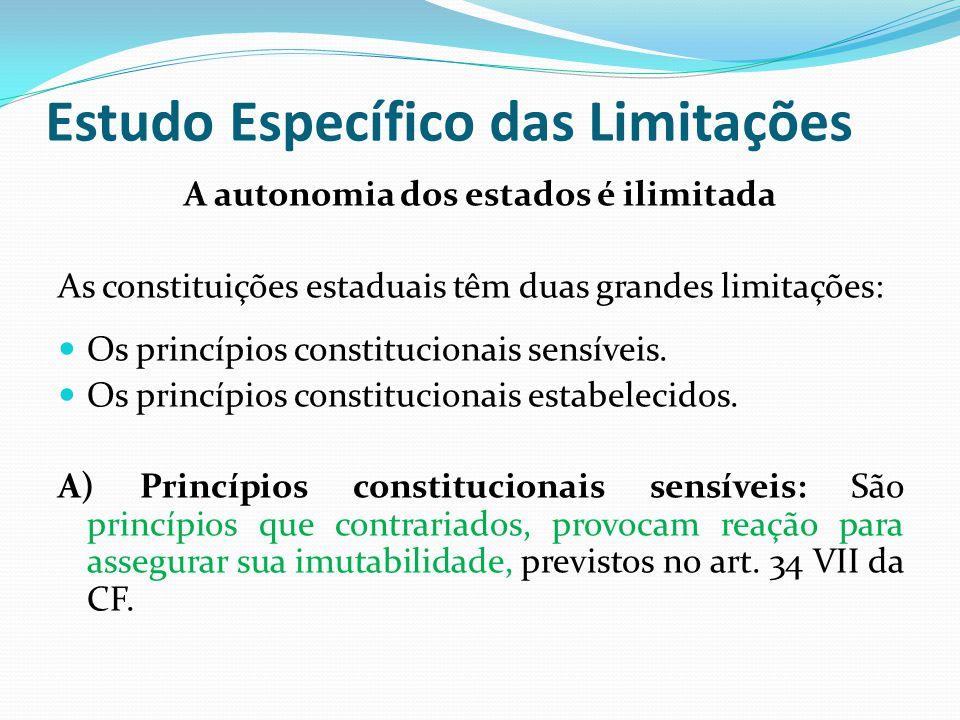 Estudo Específico das Limitações A autonomia dos estados é ilimitada As constituições estaduais têm duas grandes limitações:  Os princípios constitucionais sensíveis.