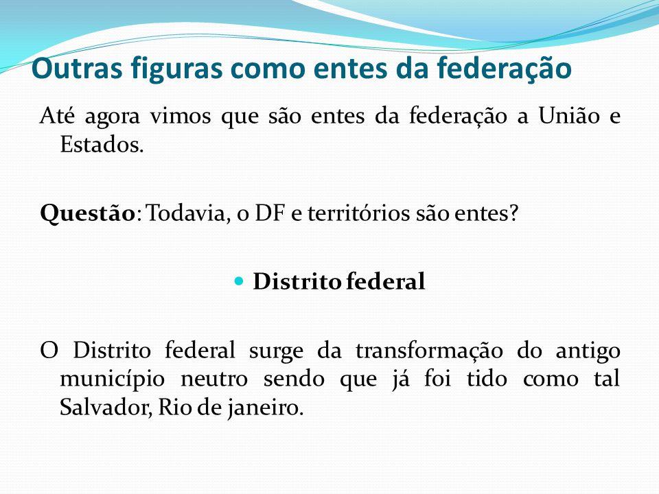 Outras figuras como entes da federação Até agora vimos que são entes da federação a União e Estados. Questão: Todavia, o DF e territórios são entes? 