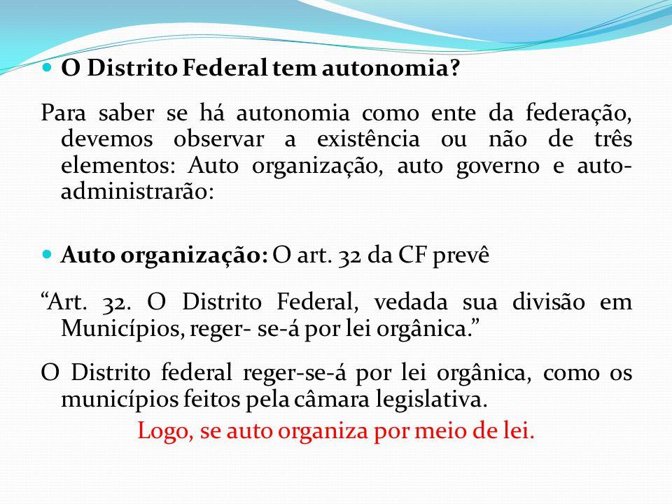  O Distrito Federal tem autonomia? Para saber se há autonomia como ente da federação, devemos observar a existência ou não de três elementos: Auto or