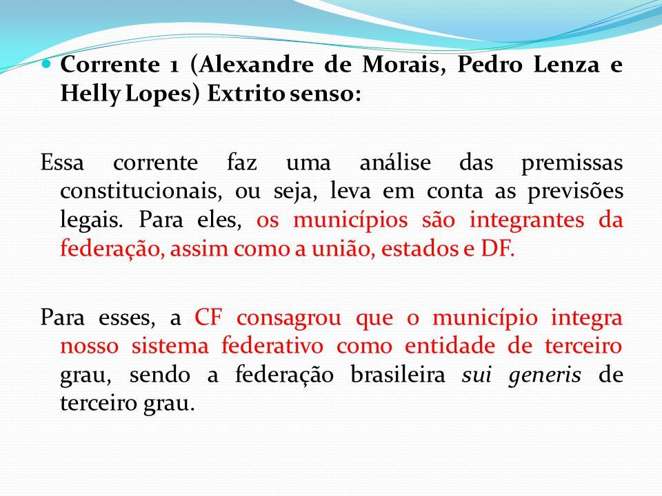  Corrente 1 (Alexandre de Morais, Pedro Lenza e Helly Lopes) Extrito senso: Essa corrente faz uma análise das premissas constitucionais, ou seja, lev