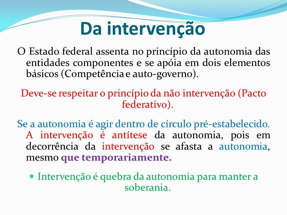 Da intervenção O Estado federal assenta no princípio da autonomia das entidades componentes e se apóia em dois elementos básicos (Competência e auto-governo).