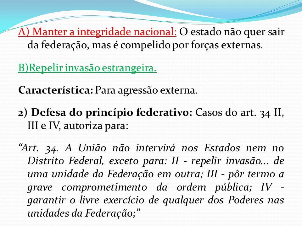 A) Manter a integridade nacional: O estado não quer sair da federação, mas é compelido por forças externas. B)Repelir invasão estrangeira. Característ