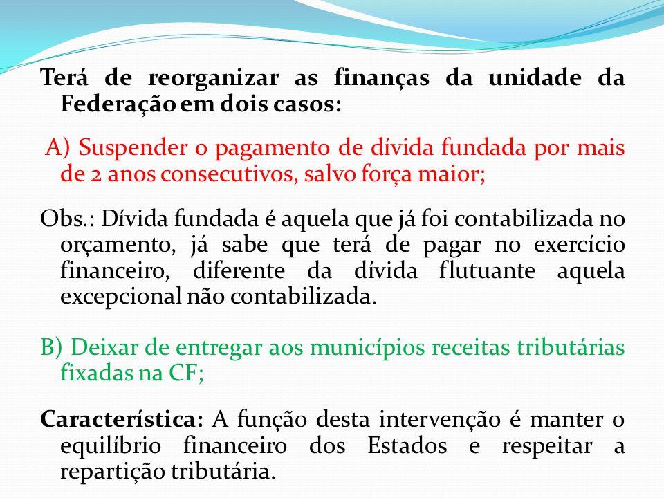 Terá de reorganizar as finanças da unidade da Federação em dois casos: A) Suspender o pagamento de dívida fundada por mais de 2 anos consecutivos, sal