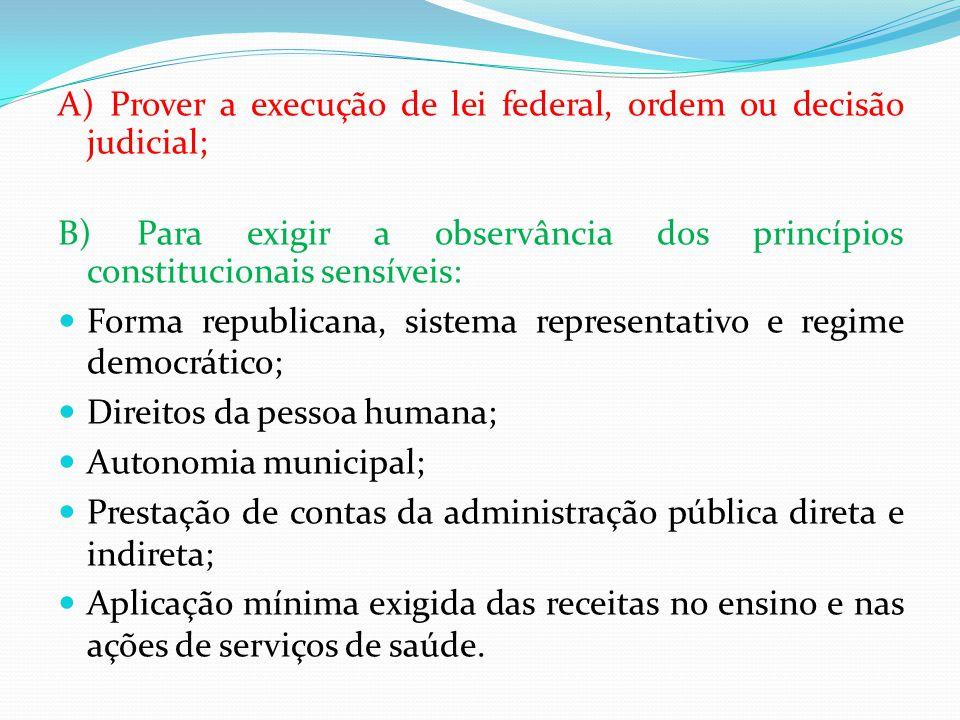 A) Prover a execução de lei federal, ordem ou decisão judicial; B) Para exigir a observância dos princípios constitucionais sensíveis:  Forma republi