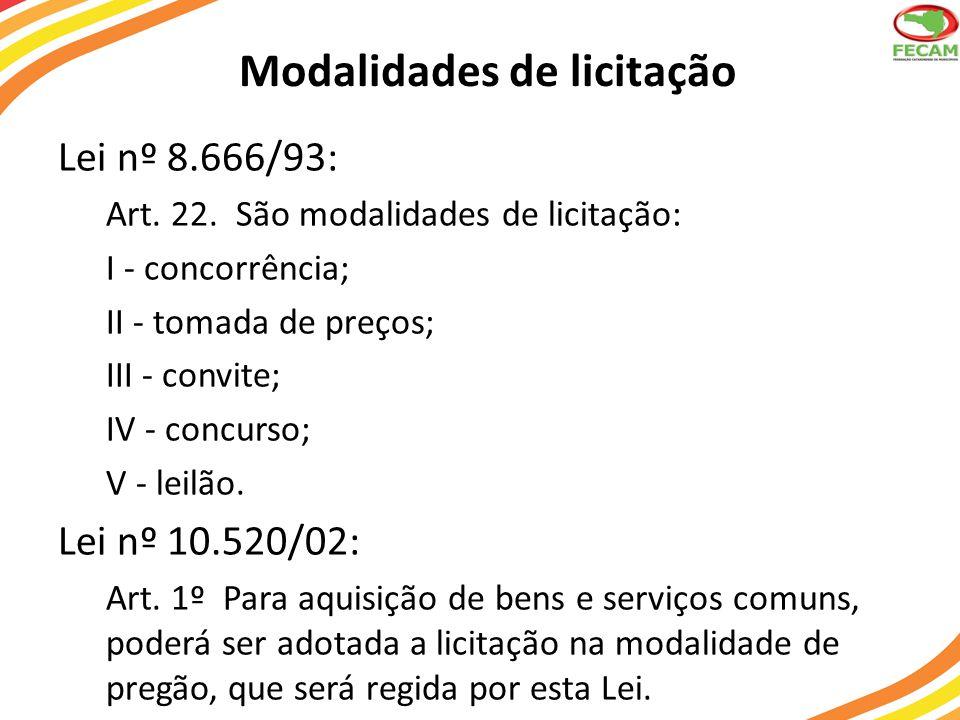 Modalidades de licitação Lei nº 8.666/93: Art. 22. São modalidades de licitação: I - concorrência; II - tomada de preços; III - convite; IV - concurso