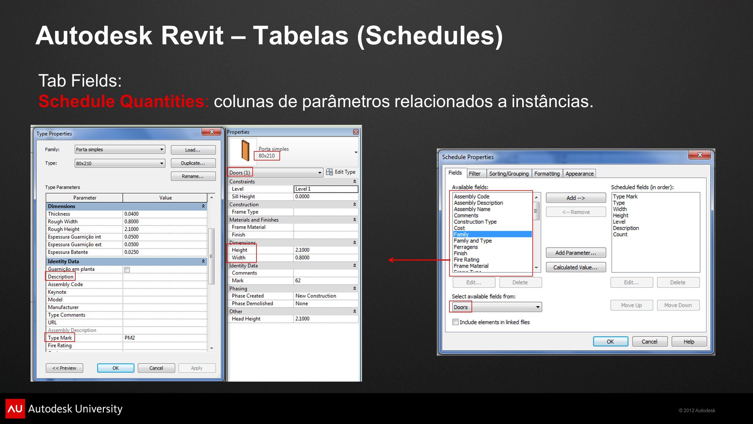 © 2012 Autodesk Autodesk Revit – Tabelas (Schedules) Tab Fields: Schedule Quantities: colunas de parâmetros relacionados a instâncias.