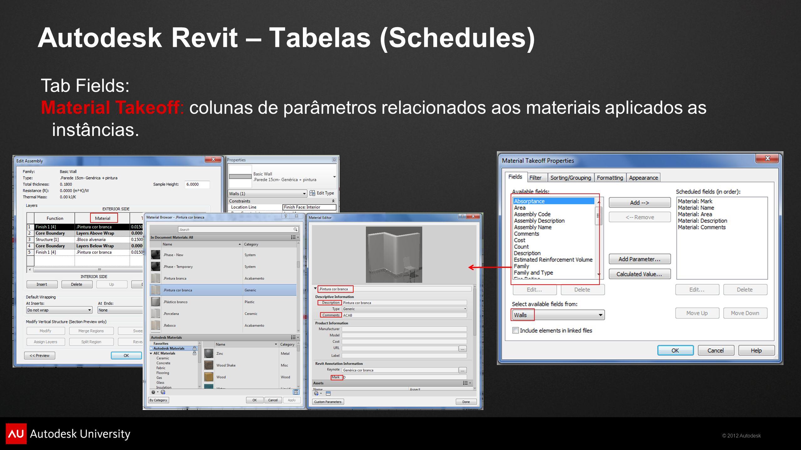 © 2012 Autodesk Autodesk Revit – Tabelas (Schedules) Tab Fields: Material Takeoff: colunas de parâmetros relacionados aos materiais aplicados as instâ