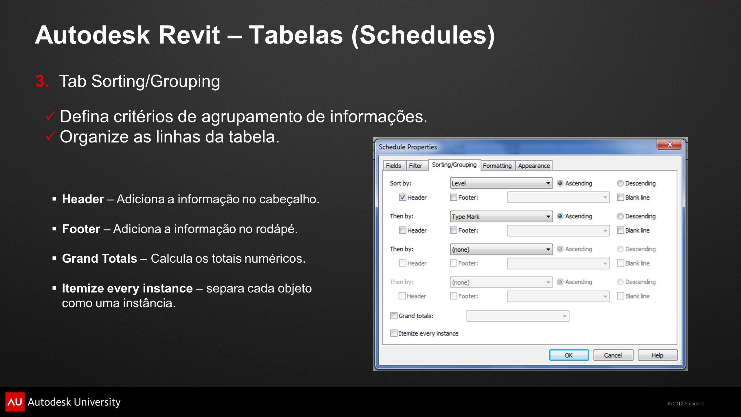 © 2012 Autodesk Autodesk Revit – Tabelas (Schedules)  Header – Adiciona a informação no cabeçalho.  Footer – Adiciona a informação no rodápé.  Gran