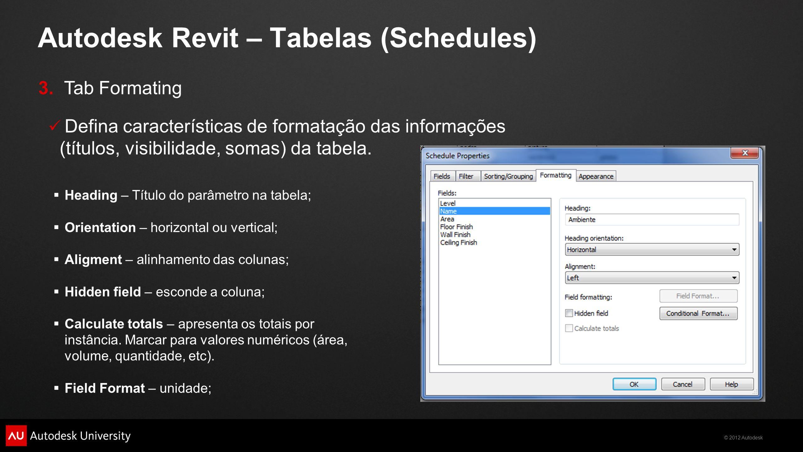 © 2012 Autodesk Autodesk Revit – Tabelas (Schedules)  Heading – Título do parâmetro na tabela;  Orientation – horizontal ou vertical;  Aligment – a