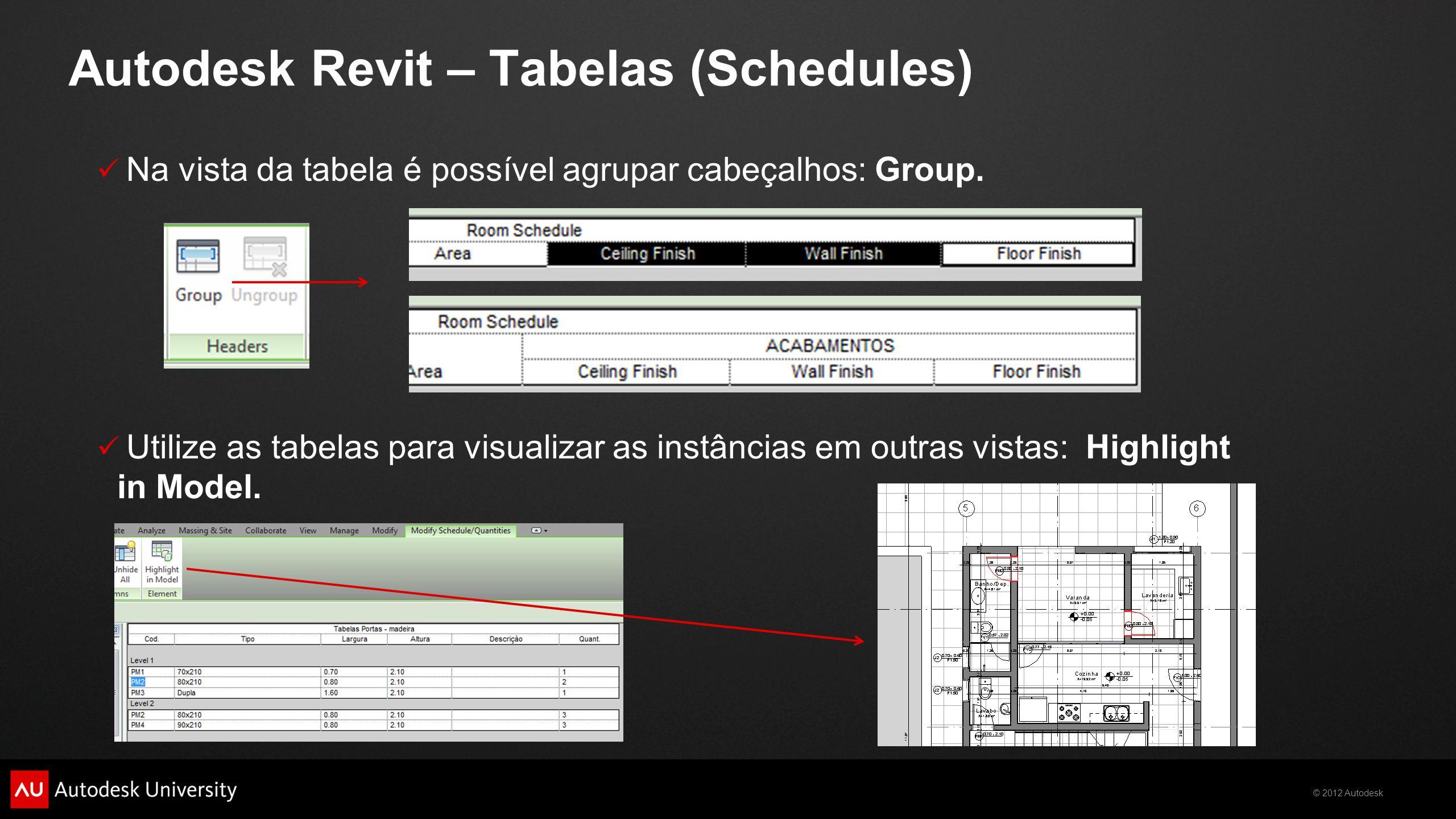 © 2012 Autodesk  Na vista da tabela é possível agrupar cabeçalhos: Group.  Utilize as tabelas para visualizar as instâncias em outras vistas: Highli