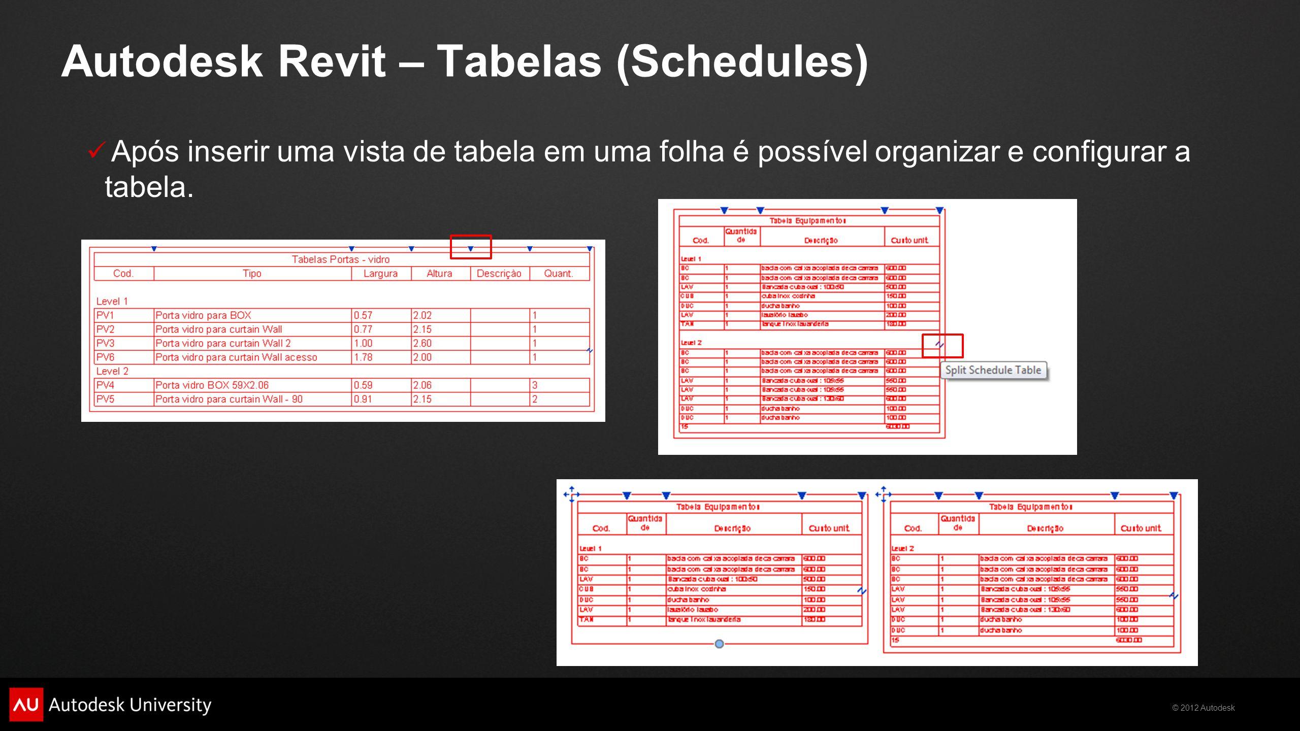 © 2012 Autodesk  Após inserir uma vista de tabela em uma folha é possível organizar e configurar a tabela. Autodesk Revit – Tabelas (Schedules)