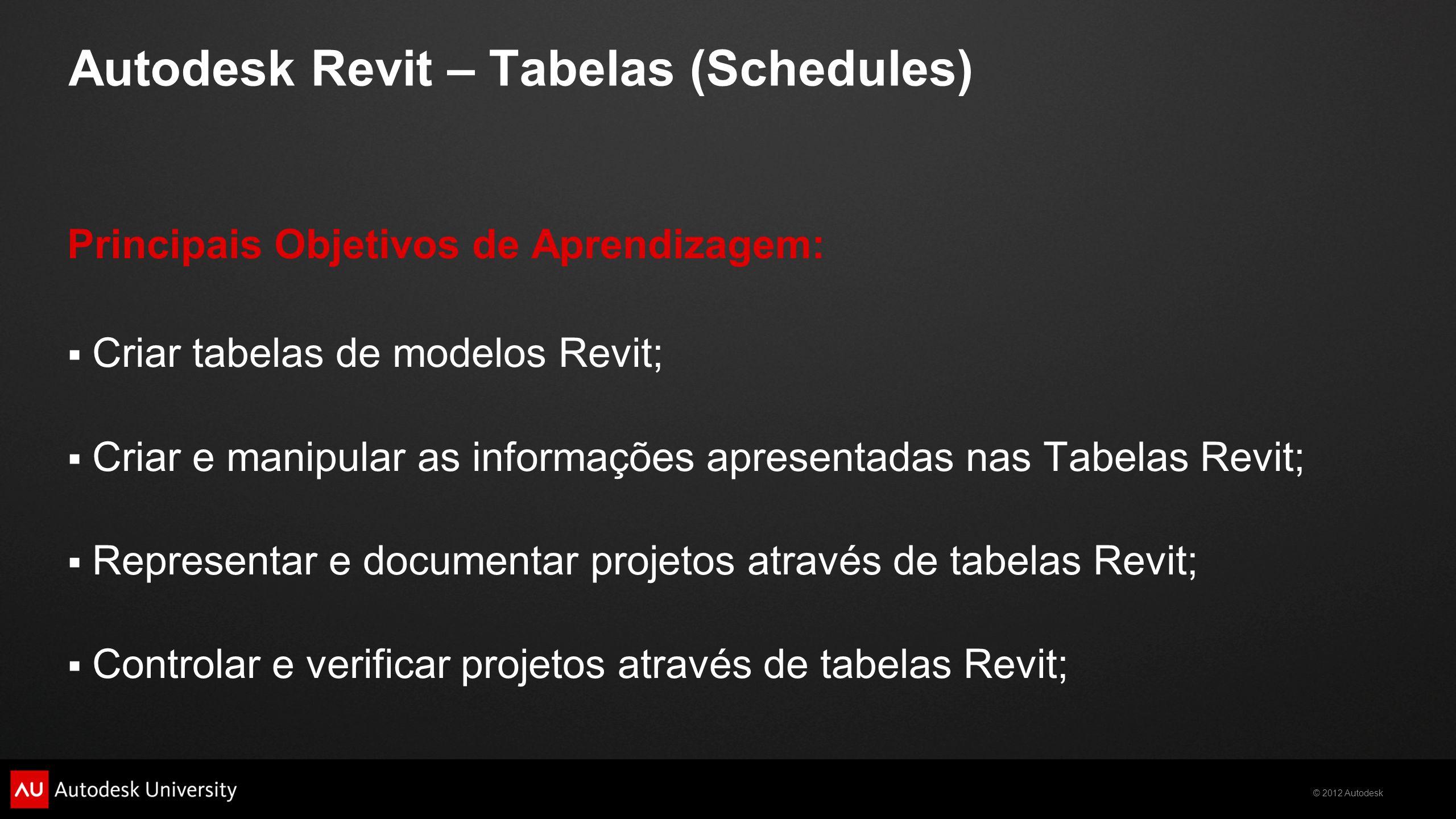 © 2012 Autodesk Autodesk Revit – Tabelas (Schedules) Principais Objetivos de Aprendizagem:  Criar tabelas de modelos Revit;  Criar e manipular as in