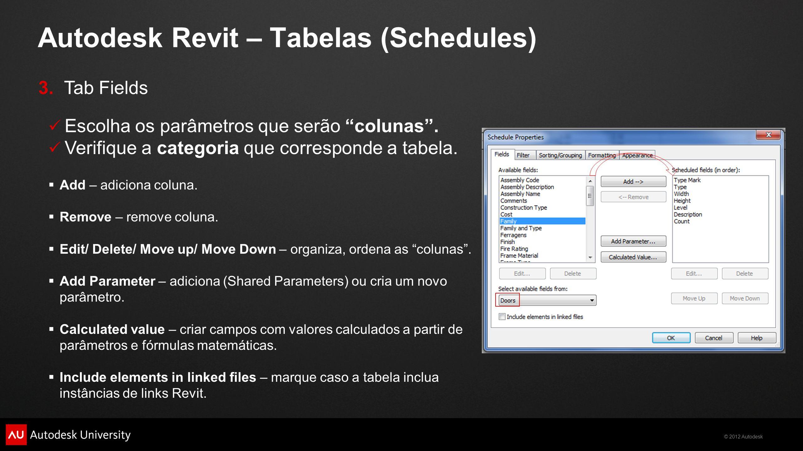 """© 2012 Autodesk Autodesk Revit – Tabelas (Schedules)  Escolha os parâmetros que serão """"colunas"""".  Verifique a categoria que corresponde a tabela. """
