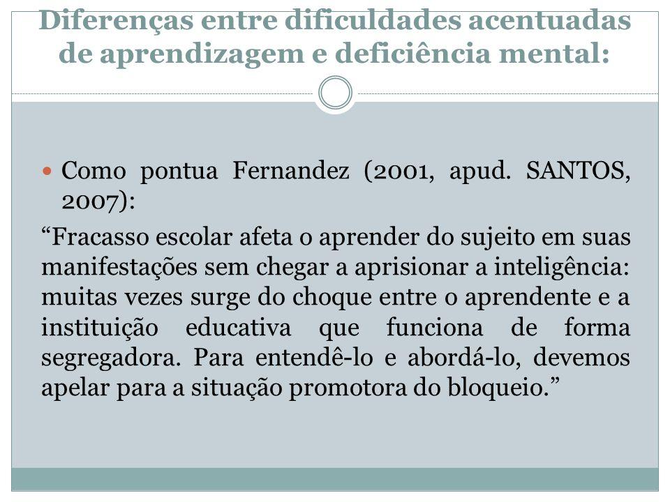 """Diferenças entre dificuldades acentuadas de aprendizagem e deficiência mental:  Como pontua Fernandez (2001, apud. SANTOS, 2007): """"Fracasso escolar a"""