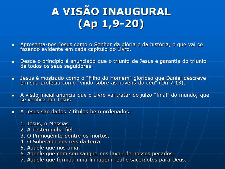 A VISÃO INAUGURAL (Ap 1,9-20)  Apresenta-nos Jesus como o Senhor da glória e da história, o que vai se fazendo evidente em cada capítulo do Livro. 