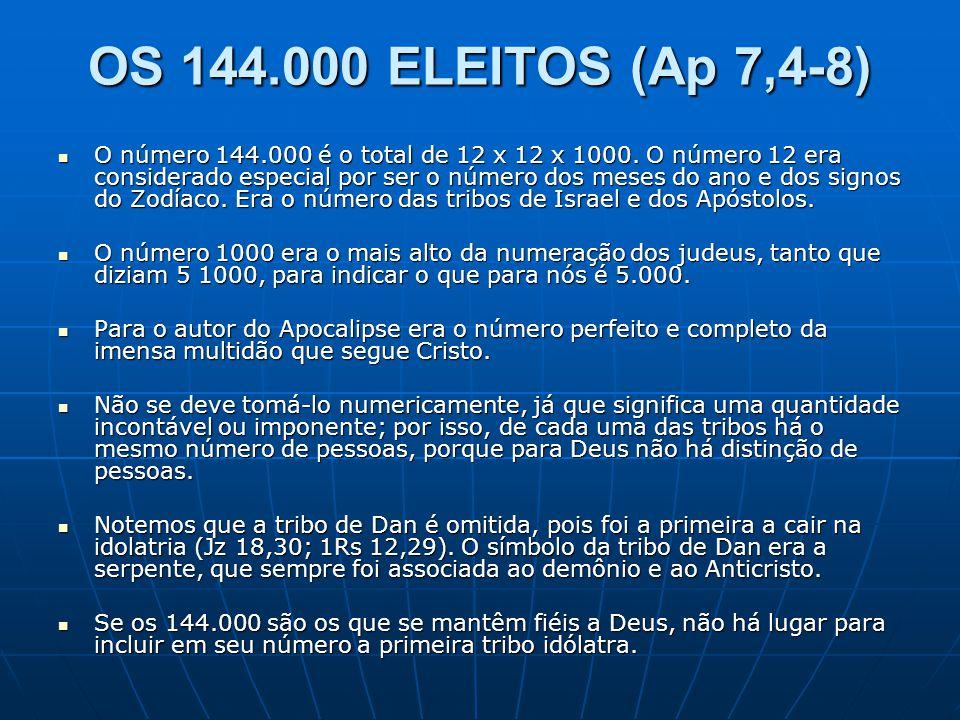 OS 144.000 ELEITOS (Ap 7,4-8)  O número 144.000 é o total de 12 x 12 x 1000. O número 12 era considerado especial por ser o número dos meses do ano e