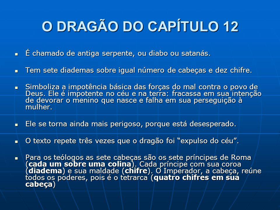 O DRAGÃO DO CAPÍTULO 12  É chamado de antiga serpente, ou diabo ou satanás.  Tem sete diademas sobre igual número de cabeças e dez chifre.  Simboli