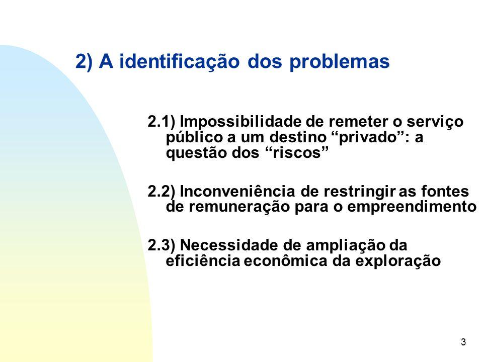 """3 2) A identificação dos problemas 2.1) Impossibilidade de remeter o serviço público a um destino """"privado"""": a questão dos """"riscos"""" 2.2) Inconveniênci"""