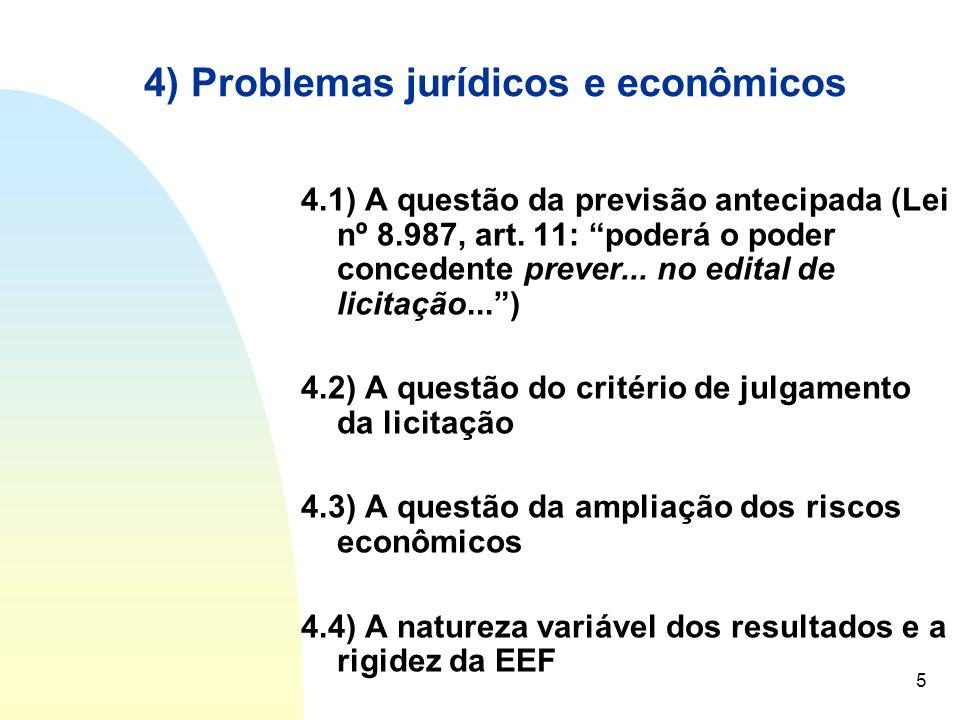 6 5) As propostas de solução 5.1) Revisão das concepções sobre concessão de serviço público 5.1.1) Pluralidade de modelos: concessões 5.1.2) Evolução hermenêutica quanto às questões de tarifas, eficiência econômica e EEF