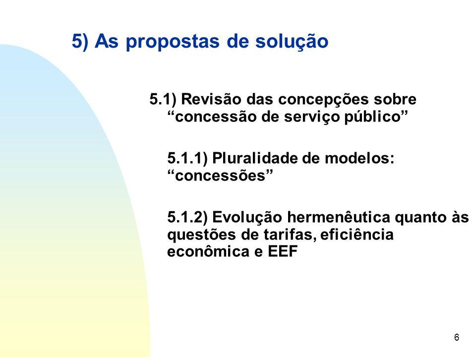 """6 5) As propostas de solução 5.1) Revisão das concepções sobre """"concessão de serviço público"""" 5.1.1) Pluralidade de modelos: """"concessões"""" 5.1.2) Evolu"""