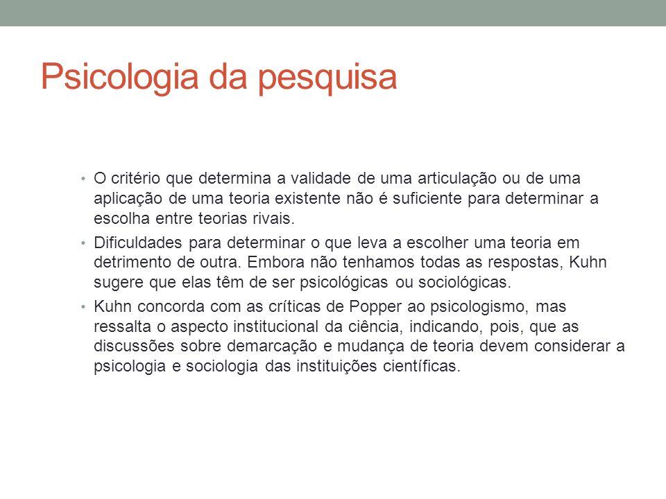 Psicologia da pesquisa • O critério que determina a validade de uma articulação ou de uma aplicação de uma teoria existente não é suficiente para dete