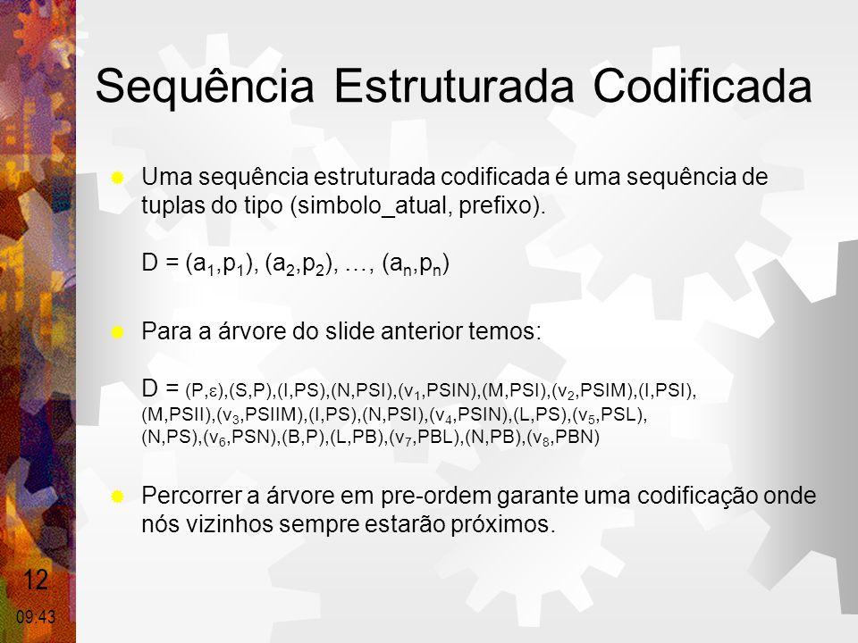 Sequência Estruturada Codificada  Uma sequência estruturada codificada é uma sequência de tuplas do tipo (simbolo_atual, prefixo). D = (a 1,p 1 ), (a