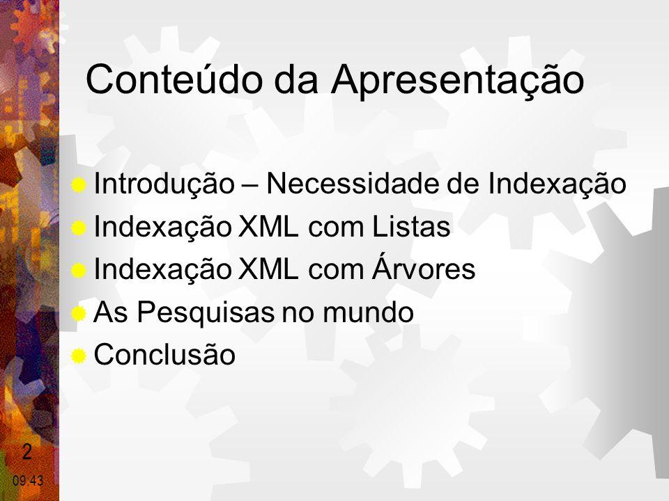 Conteúdo da Apresentação  Introdução – Necessidade de Indexação  Indexação XML com Listas  Indexação XML com Árvores  As Pesquisas no mundo  Conc