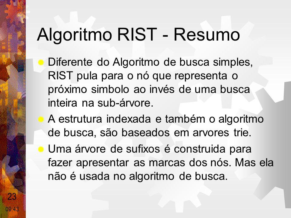 Algoritmo RIST - Resumo  Diferente do Algoritmo de busca simples, RIST pula para o nó que representa o próximo simbolo ao invés de uma busca inteira