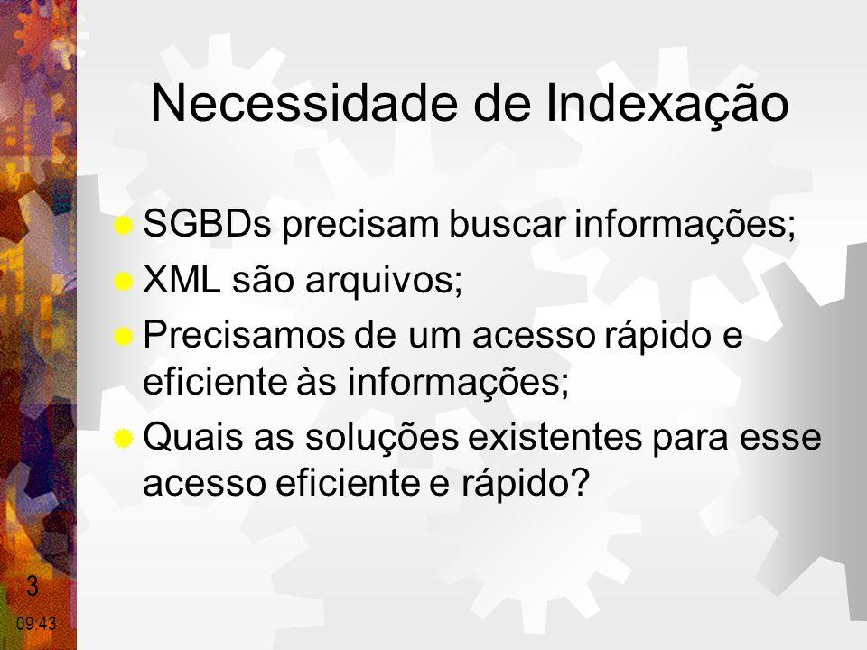 Necessidade de Indexação  SGBDs precisam buscar informações;  XML são arquivos;  Precisamos de um acesso rápido e eficiente às informações;  Quais