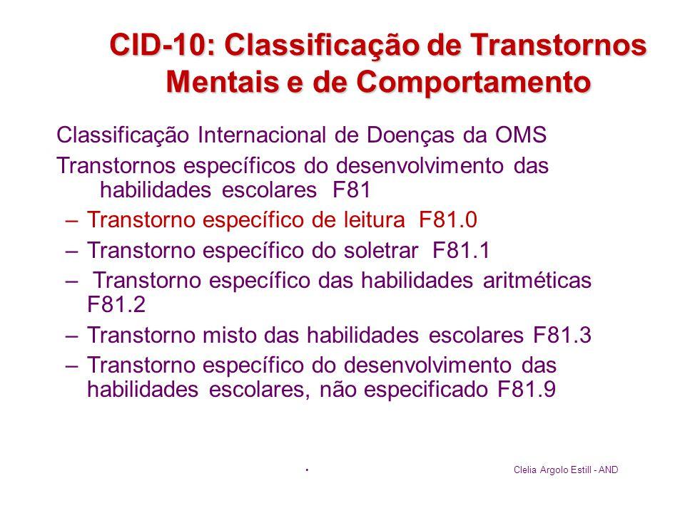 CID-10: Classificação de Transtornos Mentais e de Comportamento Classificação Internacional de Doenças da OMS Transtornos específicos do desenvolvimen