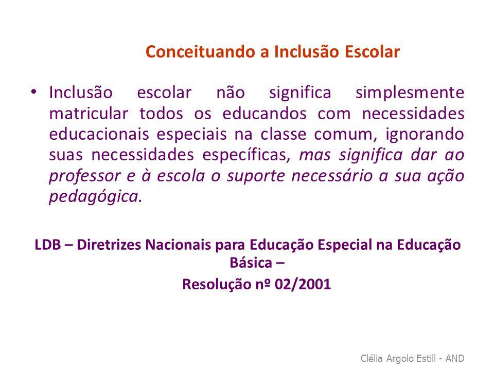 Conceituando a Inclusão Escolar • Inclusão escolar não significa simplesmente matricular todos os educandos com necessidades educacionais especiais na
