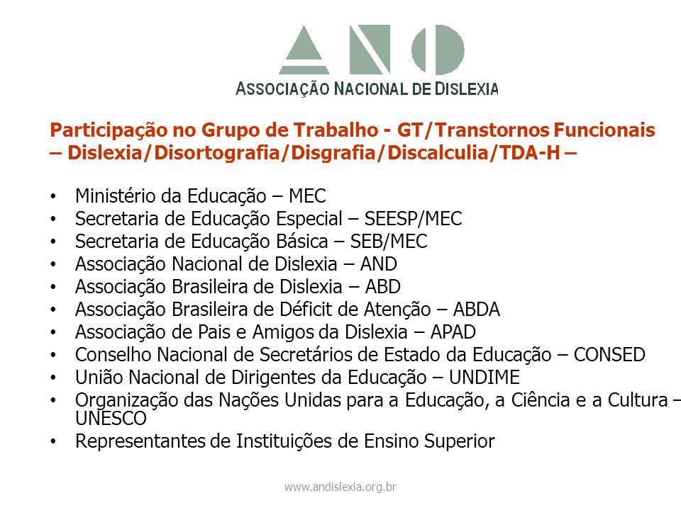 Participação no Grupo de Trabalho - GT/Transtornos Funcionais – Dislexia/Disortografia/Disgrafia/Discalculia/TDA-H – • Ministério da Educação – MEC •