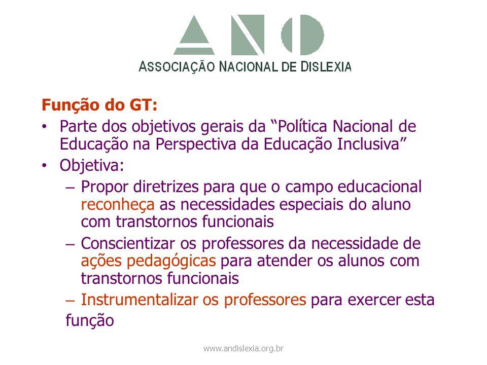 """Função do GT: • Parte dos objetivos gerais da """"Política Nacional de Educação na Perspectiva da Educação Inclusiva"""" • Objetiva: – Propor diretrizes par"""