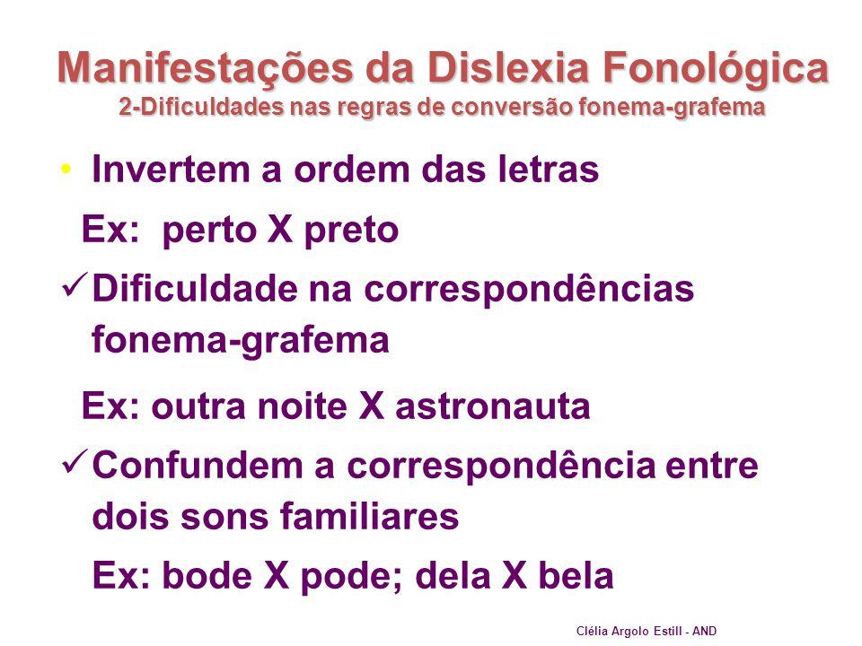 Manifestações da Dislexia Fonológica 2-Dificuldades nas regras de conversão fonema-grafema •Invertem a ordem das letras Ex: perto X preto  Dificuldad