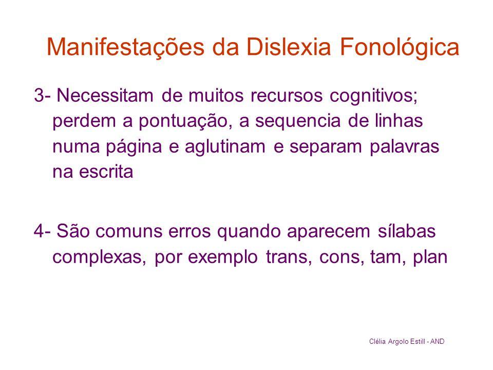 Manifestações da Dislexia Fonológica 3- Necessitam de muitos recursos cognitivos; perdem a pontuação, a sequencia de linhas numa página e aglutinam e
