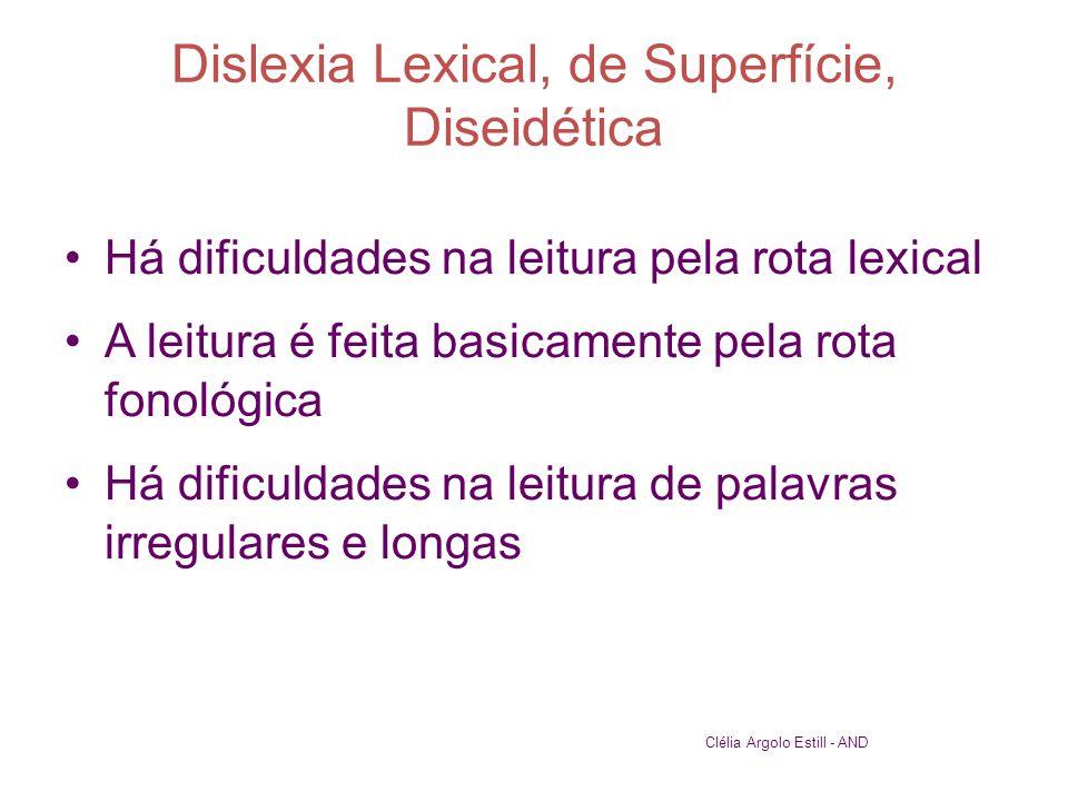 Dislexia Lexical, de Superfície, Diseidética •Há dificuldades na leitura pela rota lexical •A leitura é feita basicamente pela rota fonológica •Há dif