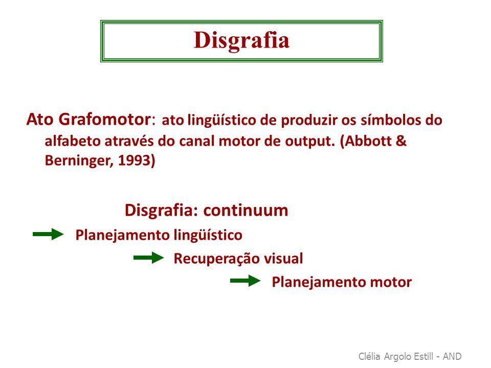 Ato Grafomotor: ato lingüístico de produzir os símbolos do alfabeto através do canal motor de output. (Abbott & Berninger, 1993) Disgrafia: continuum