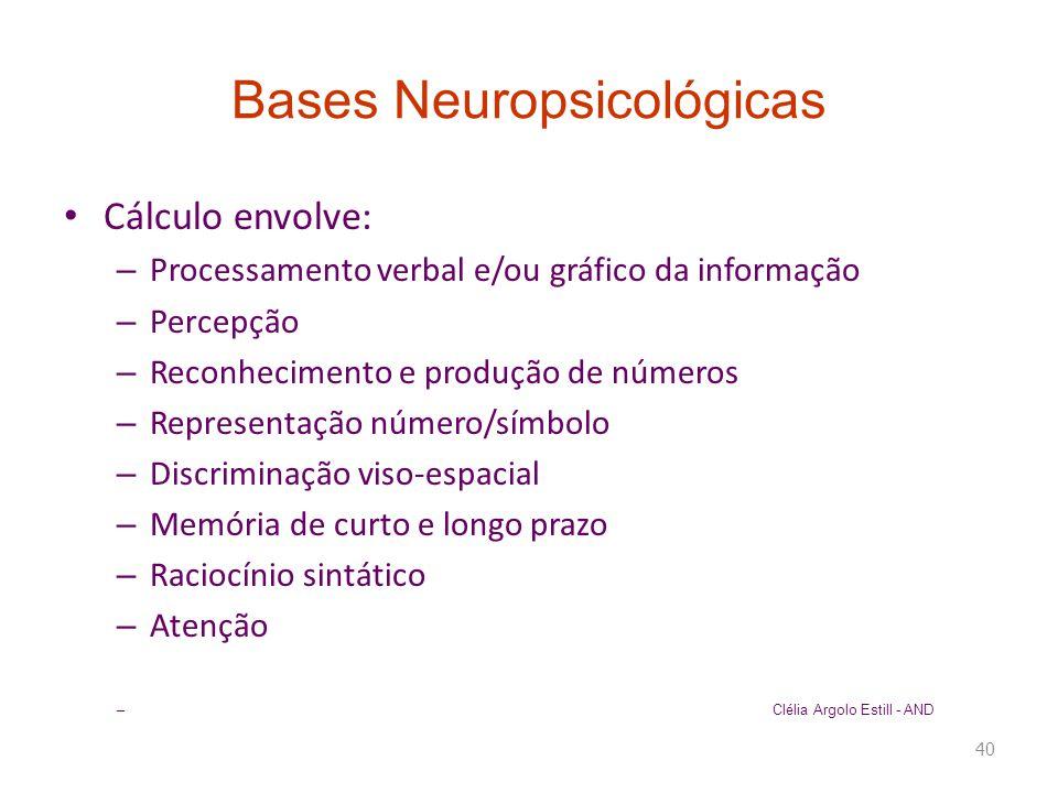 Bases Neuropsicológicas • Cálculo envolve: – Processamento verbal e/ou gráfico da informação – Percepção – Reconhecimento e produção de números – Repr