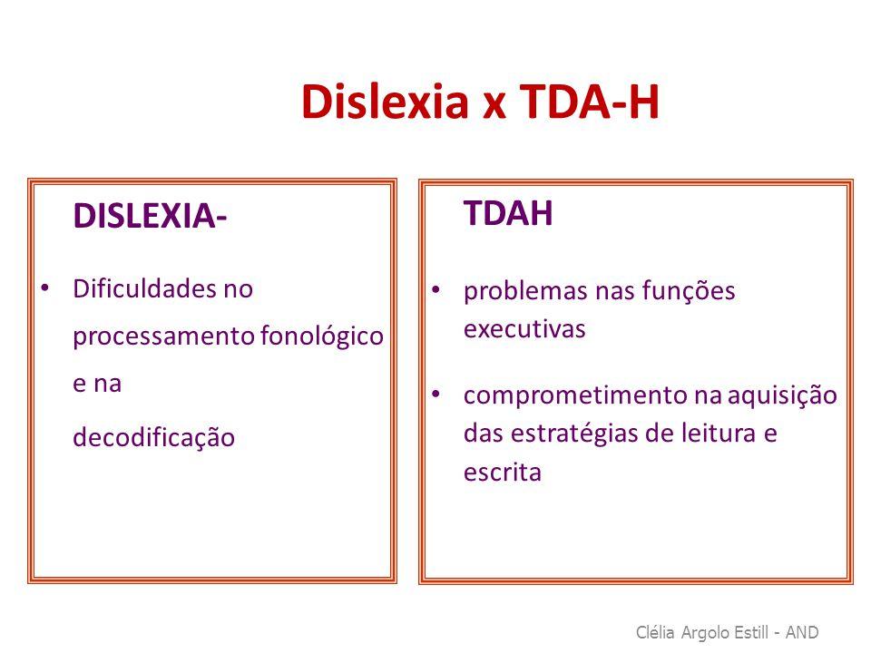 Dislexia x TDA-H DISLEXIA- • Dificuldades no processamento fonológico e na decodificação TDAH • problemas nas funções executivas • comprometimento na