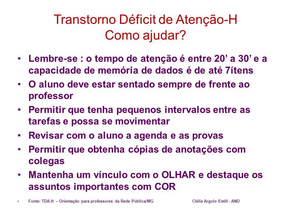 Transtorno Déficit de Atenção-H Como ajudar? •Lembre-se : o tempo de atenção é entre 20' a 30' e a capacidade de memória de dados é de até 7ítens •O a